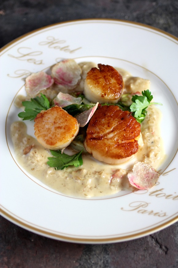 Pan-Seared Sea Scallops with a Champagne Truffle Cream