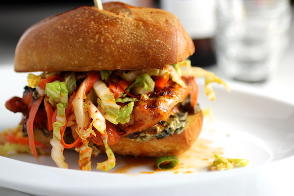 "Griddled Gochujang Chicken Sandwich, ""Kimchi"" Slaw, Seaweed Mayo"