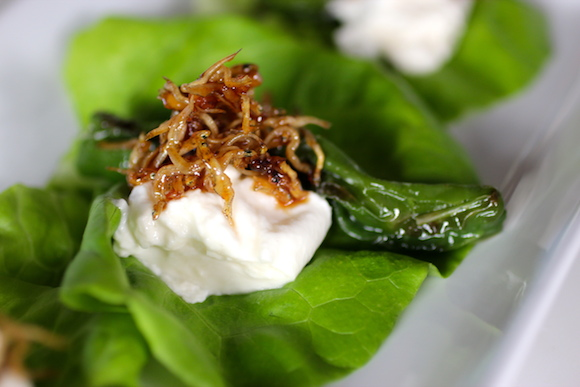 Korean Fusion: Lettuce Wraps with Burrata Cheese, Shishito Pepper, Stir-Fried Anchovy