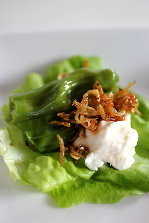 Korean Fusion: Lettuce Wraps with Burrata, Shishito, Anchovy