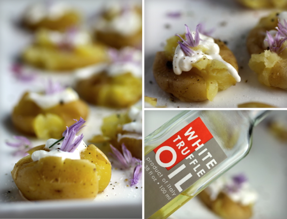 Precious Potato Bites ~ Truffle Oil, Sour Cream, Chive Blossoms