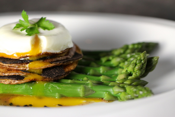 Truffled Poached Egg, Asparagus & Truffle Vinaigrette, Black Truffle & Potato Stack