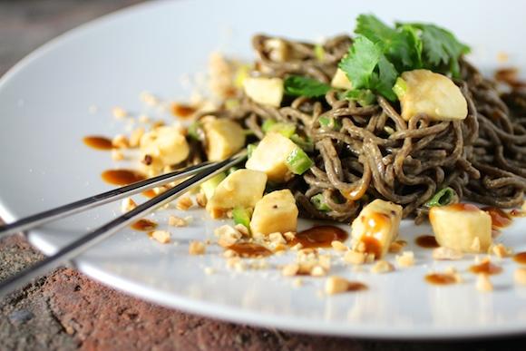Cold Buckwheat Noodles, Peanut Butter Sauce, Banana