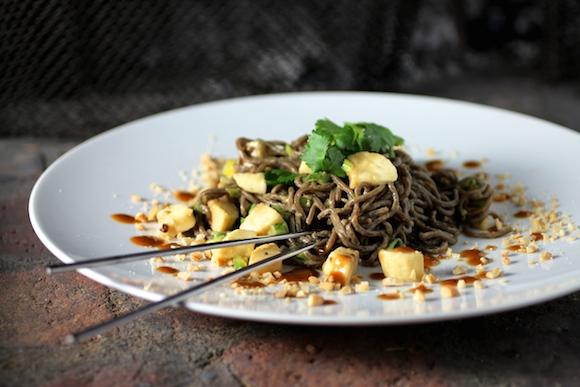 Buckwheat Noodles, Peanut Sauce, Banana