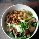 rigatoni, roasted oyster mushroom, arugula, smoky chile walnuts, garlicky yogurt, feta