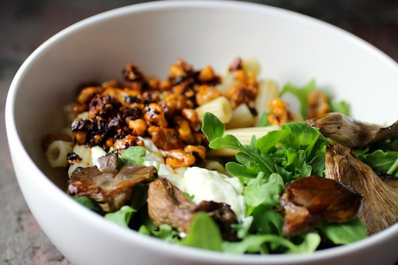 rigatoni, roasted oyster mushrooms, arugula, smoky chile walnuts, garlicky yogurt, feta