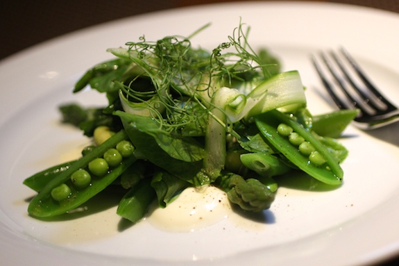 SPRING VEGETABLE SALAD asparagus, snap peas, pea tendrils, creme fraiche, green garlic