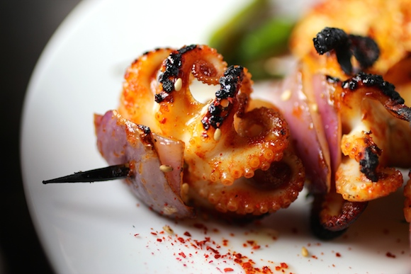Charred Baby Octopus Skewers