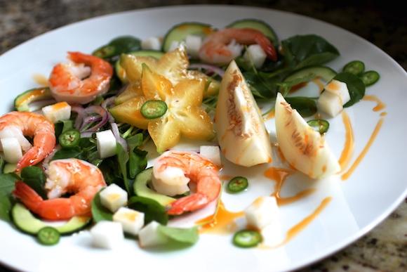 Korean Melon with Shrimp Salad