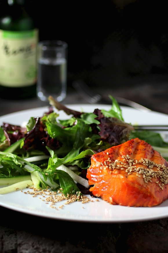 Korean Grilled Salmon, Gochujang-Soju Marinade