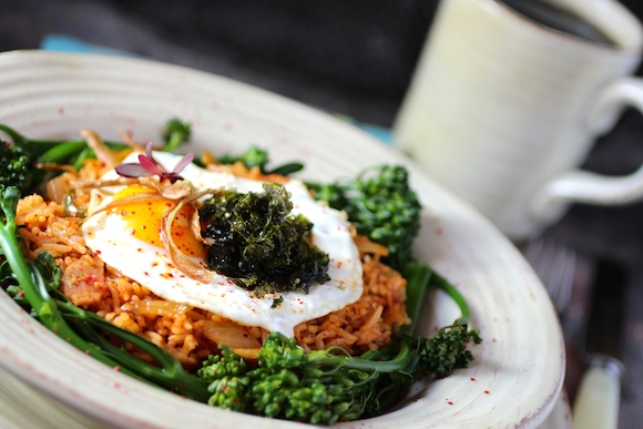 Kimchi Fried Rice with Broccolini, Egg, Bacon