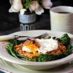 Kimchi Fried Rice with Broccolini, Egg, Bacon (kimchi bokkeumbap)