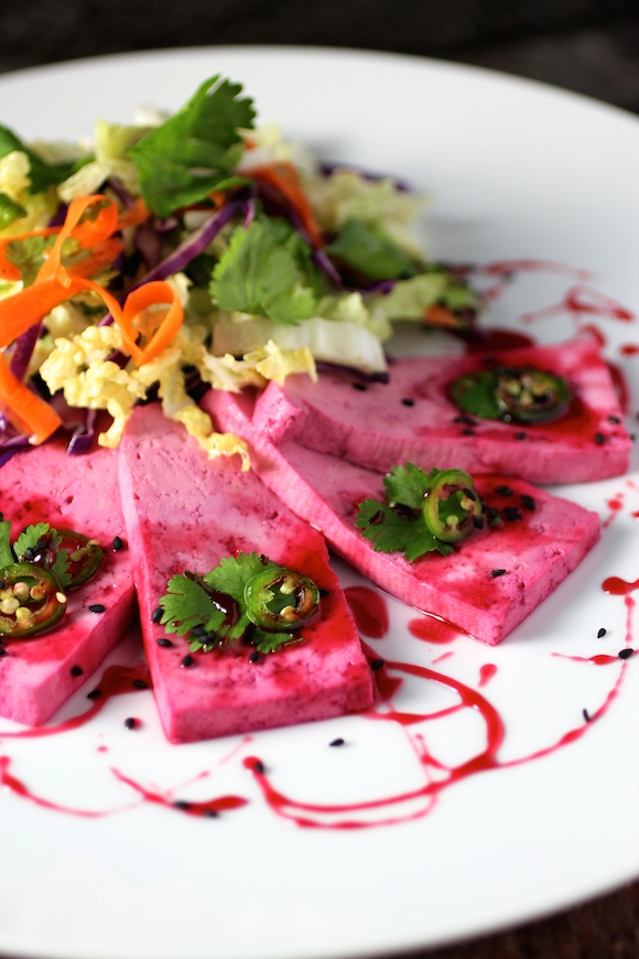 Pickled Tofu, Beet Syrup, Asian Slaw