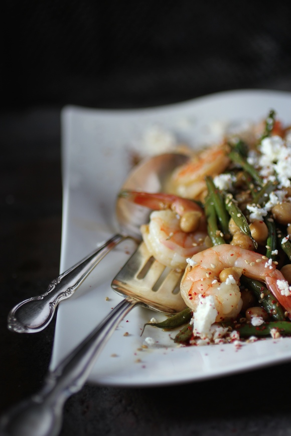 Global Shrimp: Haricots Verts, Chickpeas, Feta with a Korean Marinade