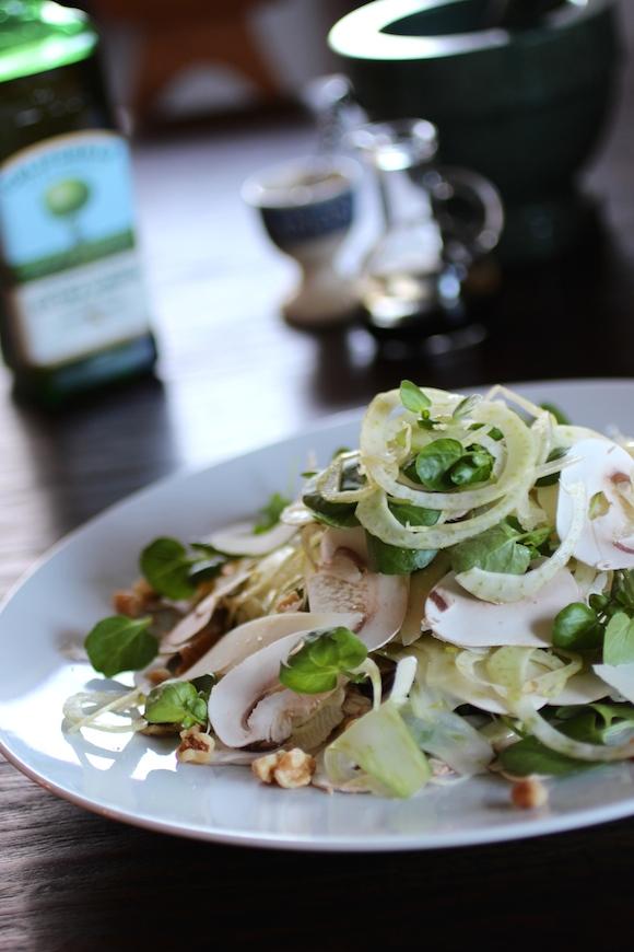 Fennel, Mushroom, Watercress, Parmesan, Walnut, Olive Oil, Balsamic Syrup