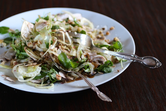 Fennel, Mushroom, Watercress, Parmesan, Walnut, Olive Oil, Balsamic Syrup