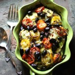 Colorful Vegetable Casserole with Fresh Herbs and Cured Black Olives