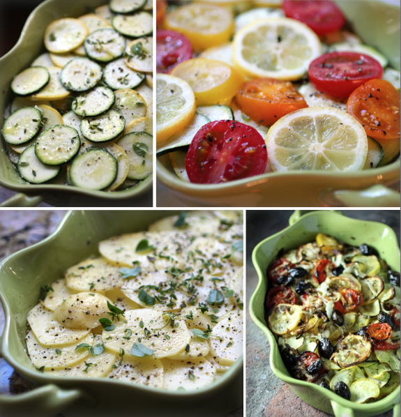 Vegetable Casserole with Fresh Herbs, Lemons, and Cured Black Olives