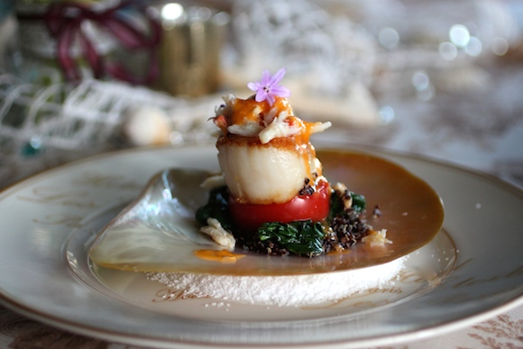 Amuse Bouche: Scallop, Crab, Black Quinoa, Tomato Meyer Lemon Sauce