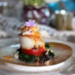 Amuse Bouche: Scallop, Crab, Black Quinoa, Tomato Meyer Lemon Sauce