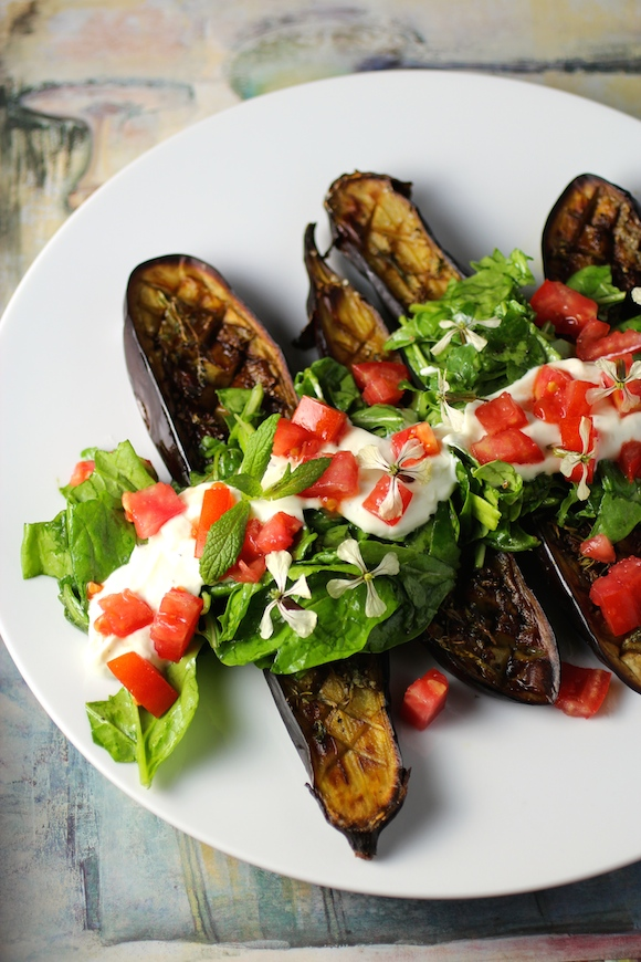 Thyme & Mint Roasted Eggplant with Arugula, Spinach, Tomato and Yogurt ...