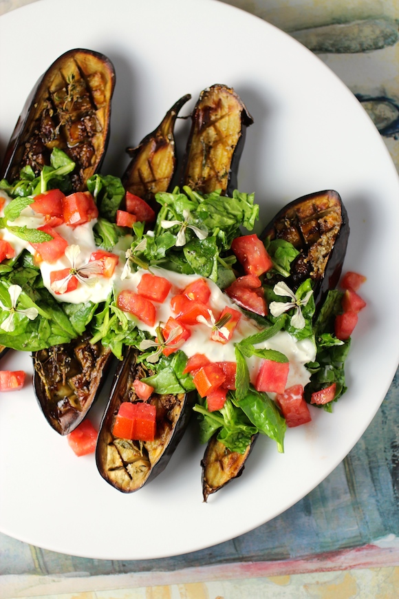 dishmaps eggplant with tomato garlic and mint bbq eggplant with tomato ...