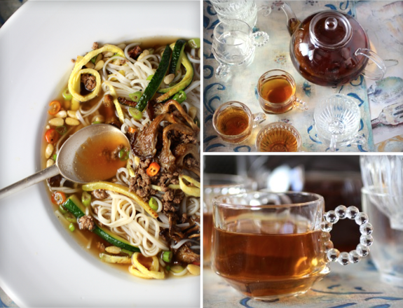 Roasted Mushroom Noodle Soup & Roasted Barley-Corn Tea