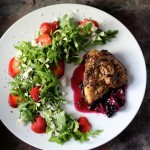 Patriotic Grilled Chicken, Blueberry Compote, Strawberry Arugula Salad