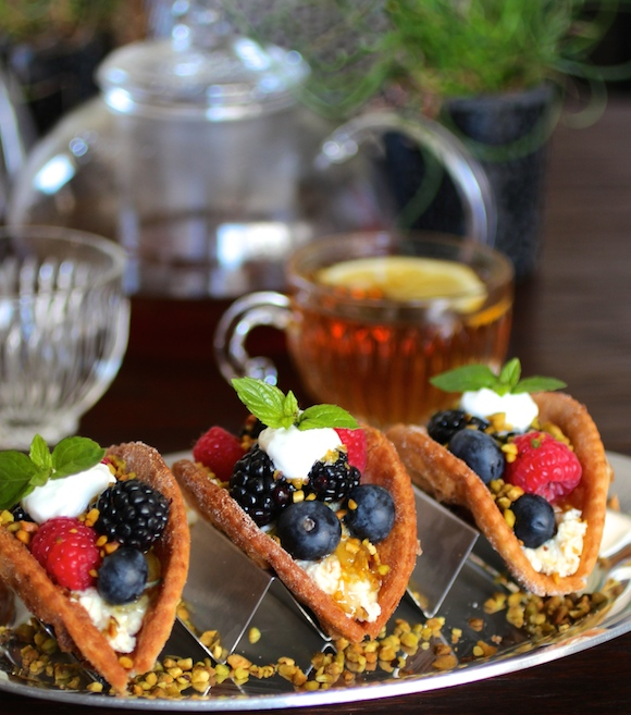 Fruit Tacos ~ Ricotta, Berries, Sopapilla Taco Shells