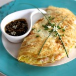 Inspired by Egg Foo Young: Bay Shrimp and Bean Sprout Omelette