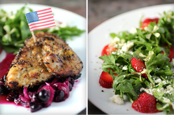 Patriotic Grilled Chicken, Savory Blueberry Compote, Strawberry Arugula Salad