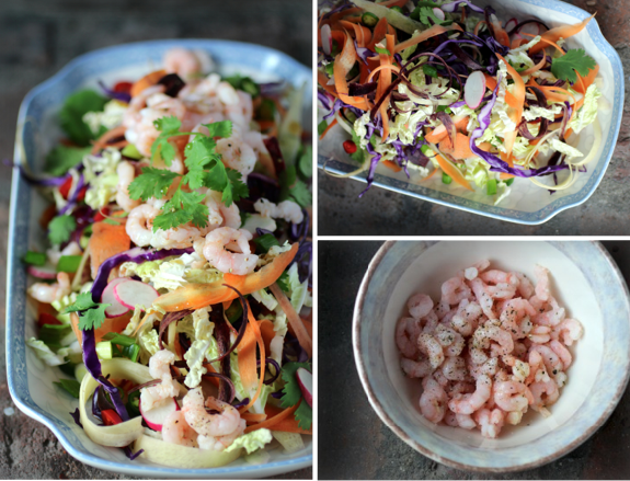 Spicy Rainbow Slaw with Shrimp