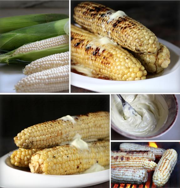Grilled Corn, Soy Mirin Glaze, Wasabi Goat Butter