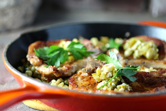 Smoky Pork Chops with Fresh Corn and Roasted Chiles, Pickled Okra