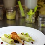 Dungeness Crab Chaud Froid with apples, walnut and pomegranate