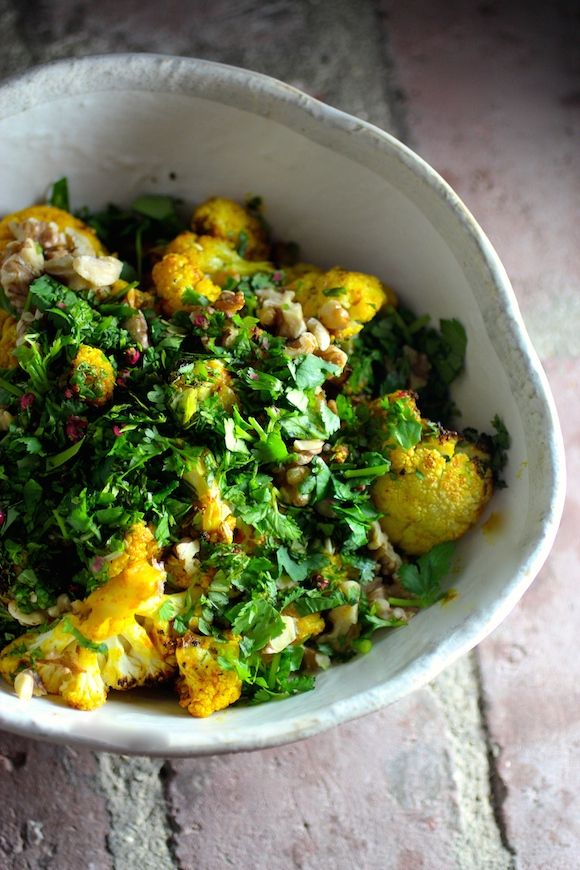 Spiced Roasted Cauliflower with Walnut, Cilantro, Mint