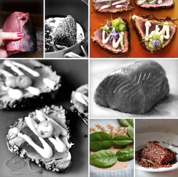 Togarashi Crusted Ahi over Ponzu with Roasted Garlic Tahini, Serrano, Kaffir Lime, Wasabi, Borage
