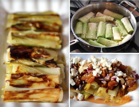 Elegant Braised Leeks with Feta, Almond, Raisin, Mint
