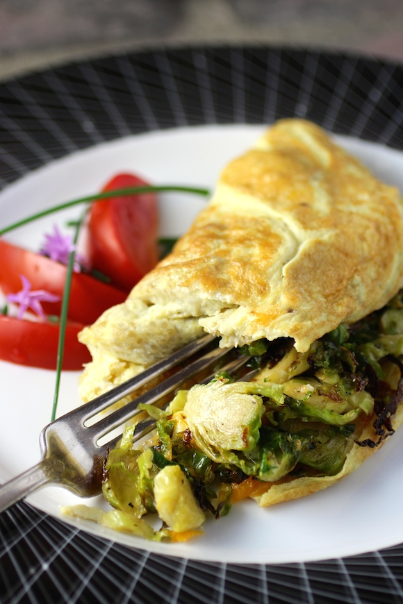 Quinoa Omelette filled with Roasted Brussels Sprouts and Cheddar