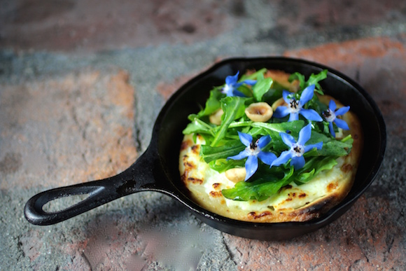 Mini Skillet Pizza - Ricotta, Arugula, Toasted Hazelnuts, Hazelnut Oil, Borage