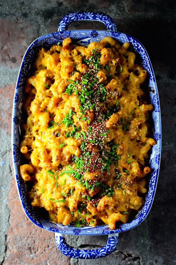 Korean Macaroni and Cheese with Beef, Kimchi, Cheddar