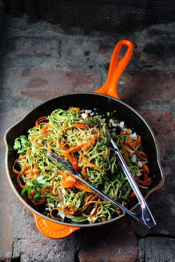 Edamame Spaghetti with Kale Cilantro Pesto, Carrot, Coconut, Ginger