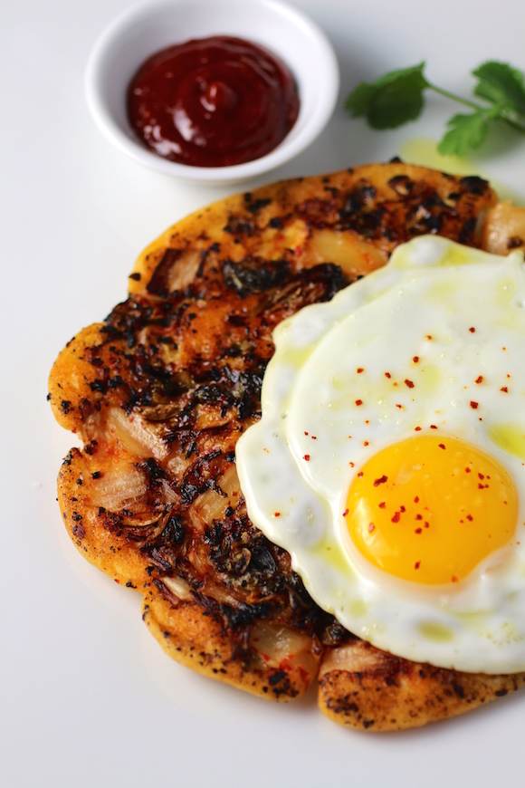 Savory Korean Breakfast Pancake {Breakfast Bindaetteok}
