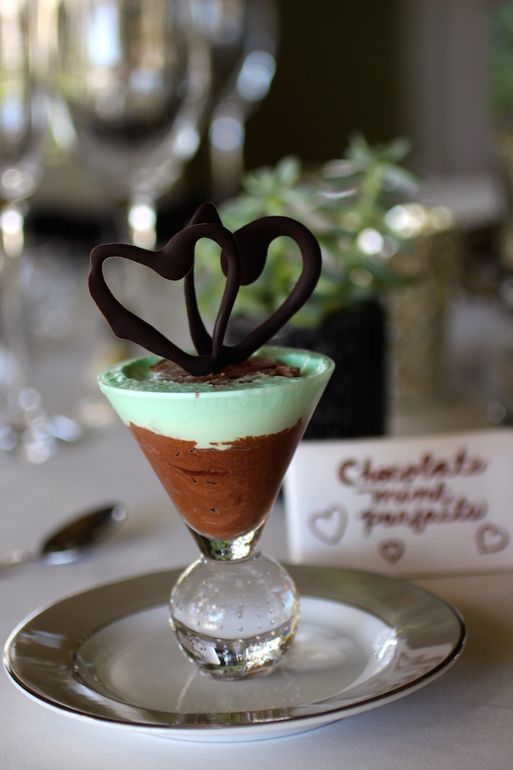 Chocolate Mint Parfaits with Chocolate Hearts