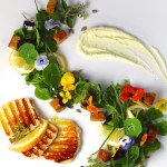 """Grilled Cheese"" Salad, Savory Meyer Lemon Whipped Cream, Edible Flowers"
