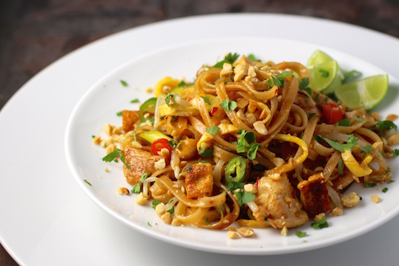 Brown Rice Noodles Pad Thai with Chicken and Tofu