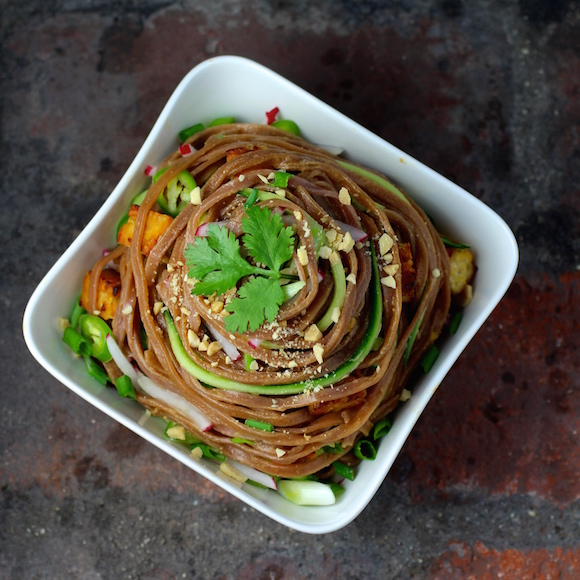 Red Rice Pad Thai Noodles with Stir-Fried Tempeh and Savory Peanut Sauce {Vegan}