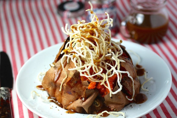 Baked Sweet Potato, Salted Caramel Puffed Rice Noodle Topping