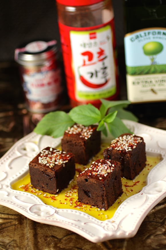 Chili Chocolate Brownies with Gochugaru, Ginger, Sesame Seed, Olive Oil, Fleur de Sel