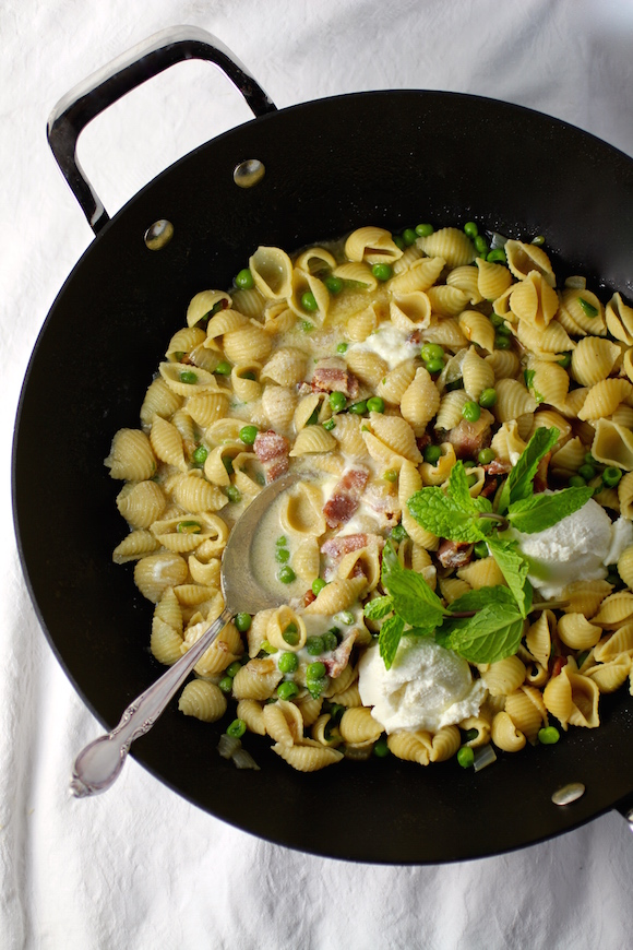 Pasta with Peas, Bacon, Mint, and Ricotta